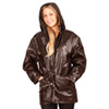 Womens Brown Leather Hooded Coat