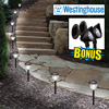 8-Piece Solar Light Set with 2 Spotlights