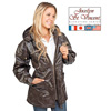 Leather Hooded Coat - Brown