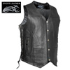 Leather 10-Pocket Motorcycle Vest