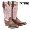 Ferrini Lizard Boots - Chocolate/Pink