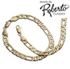 Italian Figaro 14k Gold Necklace and Bracelet