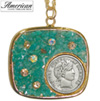Silver Barber Dime Pendant with Amazonite Stone and Swarovski Crystal