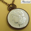 Morgan Dollar Replica in Coppertone Pendant 30 Inch Chain