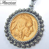 Gold-Layered Buffalo Nickel Silvertone Blossom Pendant 24 inch Chain