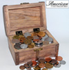 Treasure Chest with 100 Foreign Coins