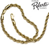 French Rope 14k Gold Necklace and Bracelet