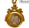 Silver Barber Quarter Goldtone Spinner Pendant