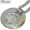 Mercury Dime Silvertone Triple Chain Pendant