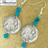 Buffalo Nickel Turquoise Coin Earrings