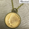 $10 Indian Head Eagle Gold Piece Replica Coin in Antique Gold Pendant