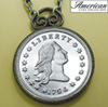 1794 Stella Flowing Hair Dollar Replica Coin in Antique Silver Pendant