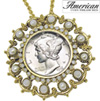 Goldtone Vintage Silver Mercury Dime Pin/Pendant