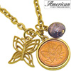 Goldtone Butterfly Coin and Charm Pendant