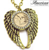 Gold -Layered Hummingbird Coin Rhinestone Wing Pendant