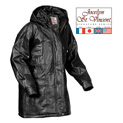 Leather Hooded Coat - Black