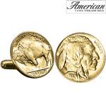 Gold-Layered Buffalo Nickel Cufflinks