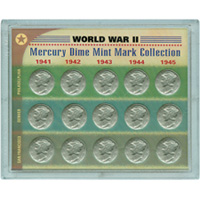 World War II Silver Mercury Dime Mint Mark Collection
