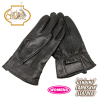 Womens Leather Insulated Gloves - Black