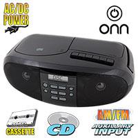 Onn CD/Cassette Boombox