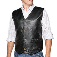 Black Patch Leather Vest