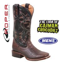 Roper Caiman Print Boots - Black/Brown