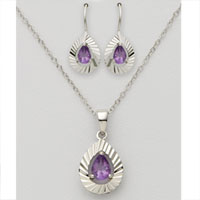 Pear Shaped Amethyst Earring & Necklace Set