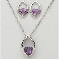 Trillion Amethyst Earring & Necklace Set