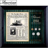 New York Times Titanic 1912 U.S. Mint Coin Collection Framed - 5 Coins