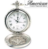 Silver Barber Half Dollar Pocket Watch