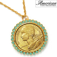 French Coin Pendant with Opal-Pacific Crystals