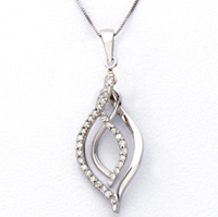 White Gold and Diamond Dangle Necklace