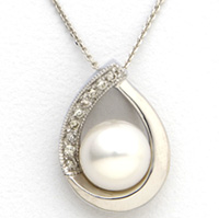 14k White Gold and Sterling Silver Pearl Necklace