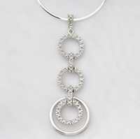 Sterling Silver and Diamond Geometric Necklace