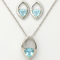 Blue Trillion Earrings and Necklace