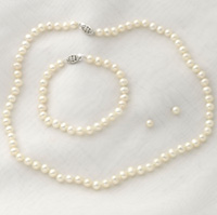 Sterling Silver Pearl Earrings/Bracelet/Necklace