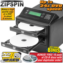 Zip Spin DVD Duplicator With Bonus CD-R 10 Pack&nbsp;&nbsp;Model#&nbsp;DVD121-PRO-WM