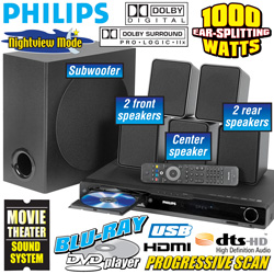 Philips 1000W Blu-Ray Home Theater System  Model# HTS3051B