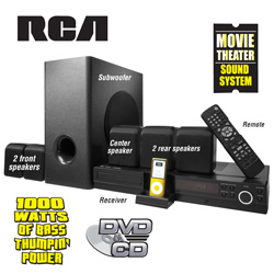 RCA DVD Home Theater System with iPod Dock&nbsp;&nbsp;Model#&nbsp;RTD316WI
