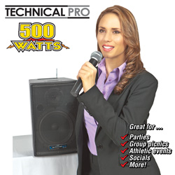 8 Inch Battery Powered PA System&nbsp;&nbsp;Model#&nbsp;WASP500