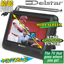 Delstar 7 Inch Portable TV With ATSC Tuner  Model# DS DTV 5317