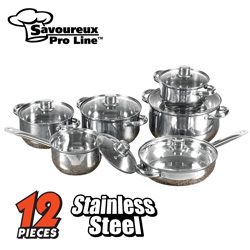 12 Piece Stainless Steel Cookware Set  Model# WJ12-2007