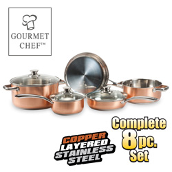 8 Piece Copper Pro Cookware Set  Model# SC-1000