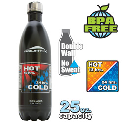 25-oz. Insulated Bottle - Black  Model# SLIM SPOUT 25OZ - BLACK