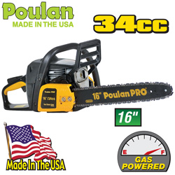 Poulan 16 Inch Gas Powered Chain Saw  Model# PPB3416SAS
