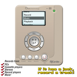 MiCorder MP3 Recorder/Player  Model# MC1022-WHITE/4GB CARD