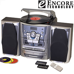Encore Technology 3CD Stereo System With Turntable  Model# 9408