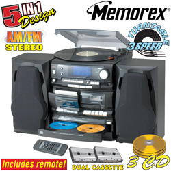 Memorex 3 Disc Stereo System With Turntable  Model# 9299BMMO