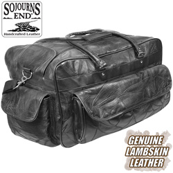 Black Leather Duffle Bag  Model# QS090206D