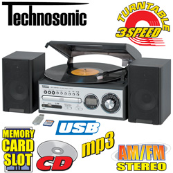 Technosonic Turntable/ CD Player With USB And Memory Card Slot&nbsp;&nbsp;Model#&nbsp;TCD-98WE
